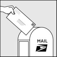 stamped envelope being put into a USPS mailbox