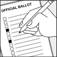 hand marking votes on a paper ballot