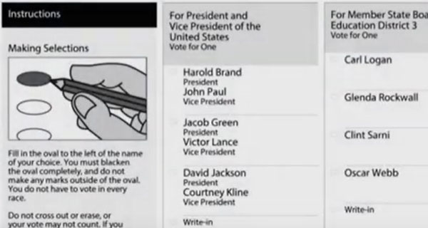 paper ballot with instructions to completely fill in oval