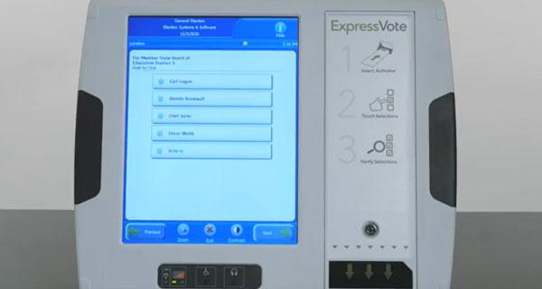 Voting machine set up screen