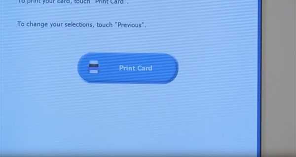 Voting Machine screen with button reading Print Card
