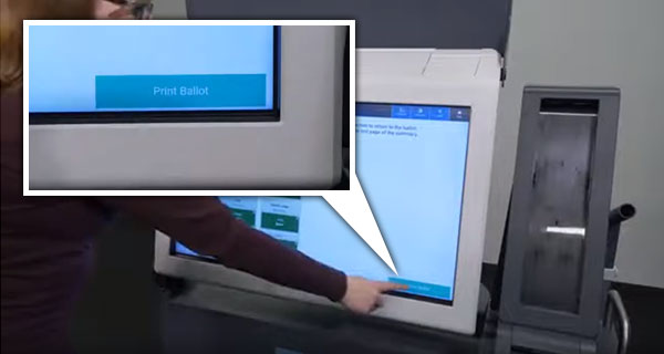 Voting machine showing Print Ballot button.