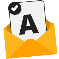 Envelope with the letter A